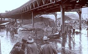 Elevated train tracks after the flood