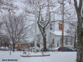 Unitarian Church (empty) on the Common.