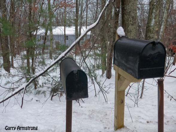 Home sweet home with our mailbox and our across the street neighbor's mailbox