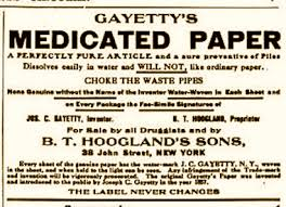 Ad for early toilet paper