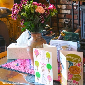 Owen's bouquet and cards